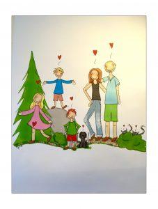 Du kan bestille din helt egen personlige familietegning. Ta kontakt på mail!